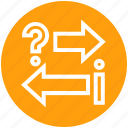 arrows, communication, customer service, help, left & right, question mark, support icon