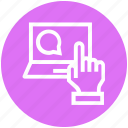 chat, click, comment, finger, hand, laptop, service icon