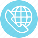 call, customer service, globe, receiver, support, telephone, world icon