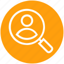 customer find, customer service, employee, magnifier, search, service, user icon