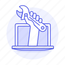 assistance, customer, hand, help, laptop, support, tech, wrench icon