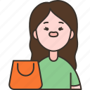female, customer, buyer, shopping, product