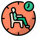 duration, wait, waiting, time, sitting, waiting room, waiting time icon