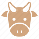 animal, cow, face, farm, head, zoo icon