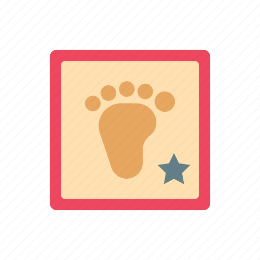 accessoris, baby, foot print, frame, print, star, steps icon