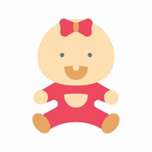 baby, cute, girl, laugh, pink, ribbon, smile icon