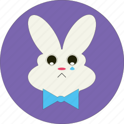animal, bunny, cute, easter, sad bunny, sad face, sad rabbit icon