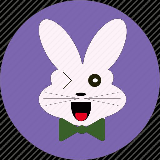 +animal, +cartoon, +wink, bunny, cute, wink face icon
