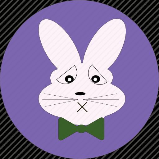 bunny, bunny icon, cute, rabbit, rabbit face, rabbit icon, sad bunny icon icon