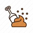 animal, dog, dog litter, feces, pet, shovel, spade icon