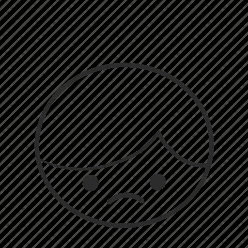 boy, emojis, emoticons, face, head, people, sad icon