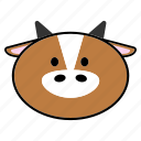 animal, chinese, fat, head, horoscope, ox, zodiac icon