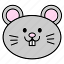 animal, chinese, fat, head, horoscope, rat, zodiac icon