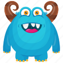 blue monster, halloween monster, haunted monster, horned monster, horrifying creature