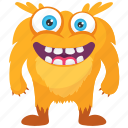 halloween character, horrifying creature, kids cartoon, monster cartoon, yellow monster icon