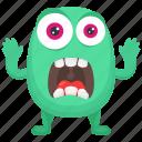 cartoon monster, frightening monster, fuzzy green monster, green monster, horrifying creature icon