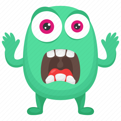 cartoon monster, frightening monster, fuzzy green monster, green monster, horrifying creature icon