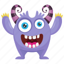 alien, alien victory monster, cartoon monster, monster character, purple monster icon
