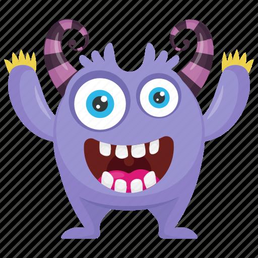 alien, alien victory monster, cartoon monster, monster character, purple monster icon