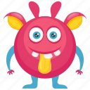 beast, demon, furry round monster, monster character, pink monster icon