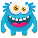 blue monster, demon, funny monster, furry funny monster, smiling monster icon