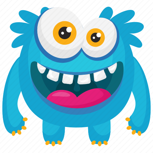 Blue monster, demon, funny monster, furry funny monster, smiling monster icon - Download on Iconfinder