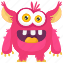 aggressive monster, alien, demon, monster cartoon, pink monster icon