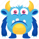 alien, demon, monster cartoon, sad monster, unhappy monster icon