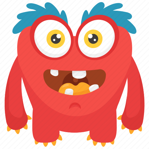 Demon character, furry monster, gossamer cartoon character, gossamer monster, hairy monster icon - Download on Iconfinder