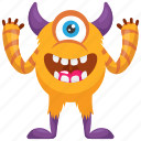 cartoon monster, cyclop monster, demon, horned monster, one-eyed monster