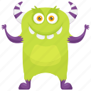alien monster, cartoon monster, happy monster, potato zombie monster, zombie monster
