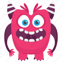 aggressive monster, angry monster, devil monster, monster cartoon icon