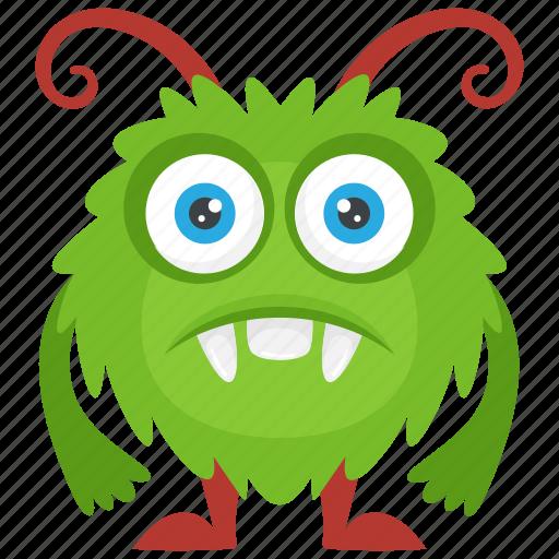 alien monster, beast, horrifying creature, round monster, zombie monster icon