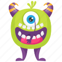 cartoon mike wazowski, halloween monster character, mike wazowski monster, monster character, one eye monster icon