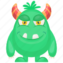 horrifying creature, monster costume, oni green monster, oni green monster character, unusual creature