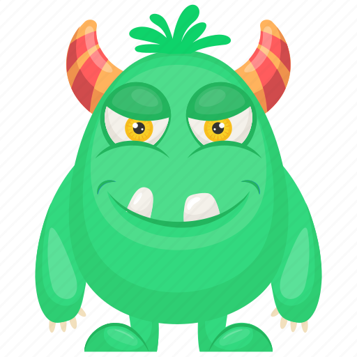 horrifying creature, monster costume, oni green monster, oni green monster character, unusual creature icon