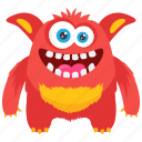 cartoon monster, demon monster, fat beast monster, giant monster, zombie character