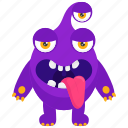 alien monster, cartoon character, monster creature, three eyed monster, zombie monster icon