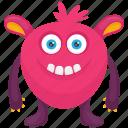 cartoon monster, caterpillar monster, demon monster, furry monster, insect monster icon