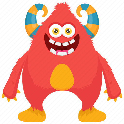 cartoon monster, demon monster, fat beast monster, giant monster, zombie character icon