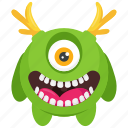 devil monster, monster character, one eyed monster, ons cartoon monster, randier monster icon