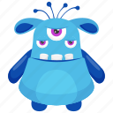 beast monster, eye ghoul monster, halloween ghost character, monster cartoon, three eyed monster