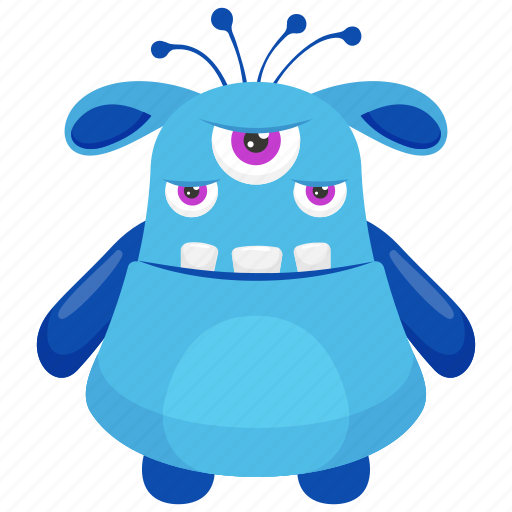 Beast monster, eye ghoul monster, halloween ghost character, monster cartoon, three eyed monster icon - Download on Iconfinder