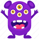 monster cartoon, monster character, monster costume, spider eye monster, spider monster costume icon