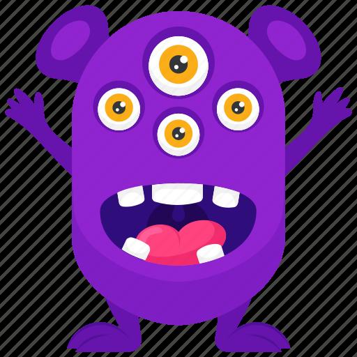 Monster cartoon, monster character, monster costume, spider eye monster, spider monster costume icon - Download on Iconfinder