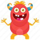 cute monster, insect monster, monster cartoon, monster character, worm devil monster