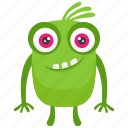 frightening monster, green mascot monster, green monster, halloween monster, mascot icon