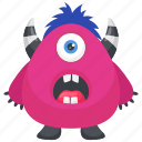 frightening monster, mascot, one eye monster, pink mascot monster, pink monster icon