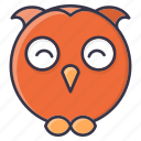 #fall, emoji, halloween, happy, owl, winter icon