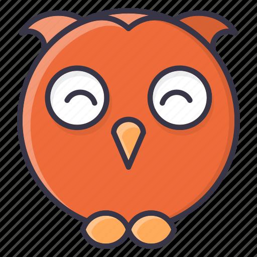 #fall, emoji, halloween, happy, owl, winter icon